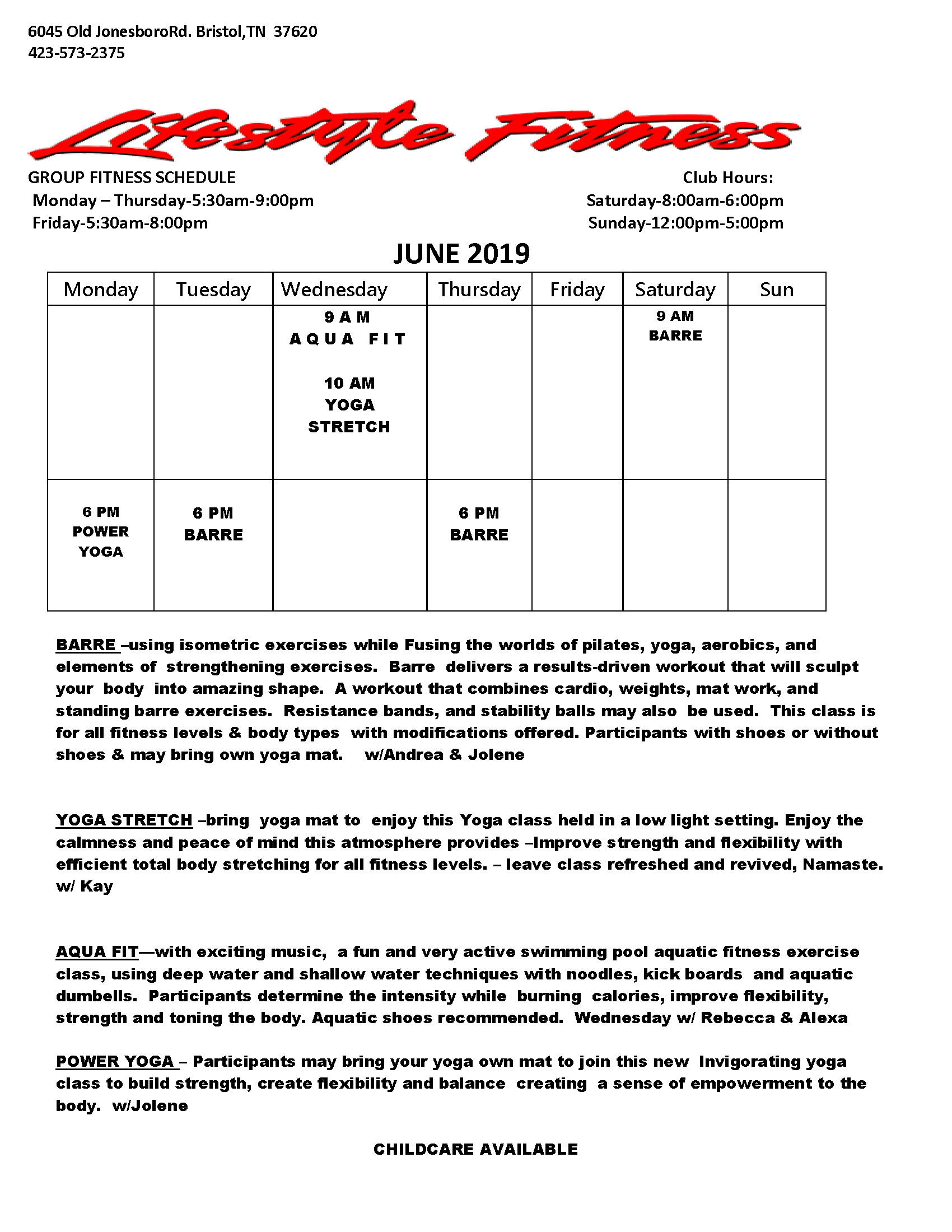 Group Fitness Schedule June 2019 A1_Page_1