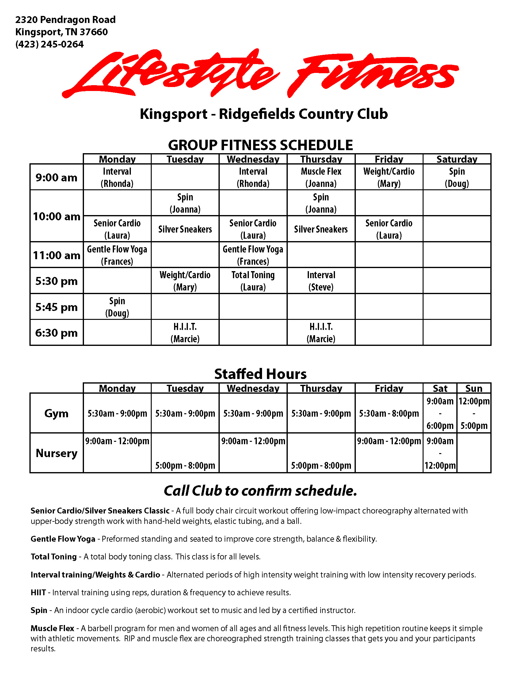Class Schedule (Kingsport Location)
